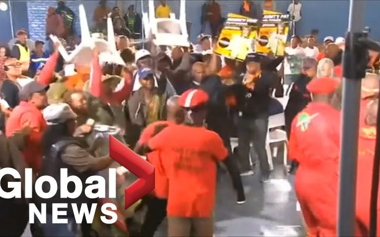 Massive brawl breaks out between rival South African political parties