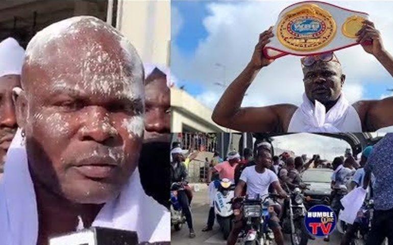 Ghanaians mob Bukom Banku as he arrives in Ghana After winning in UK