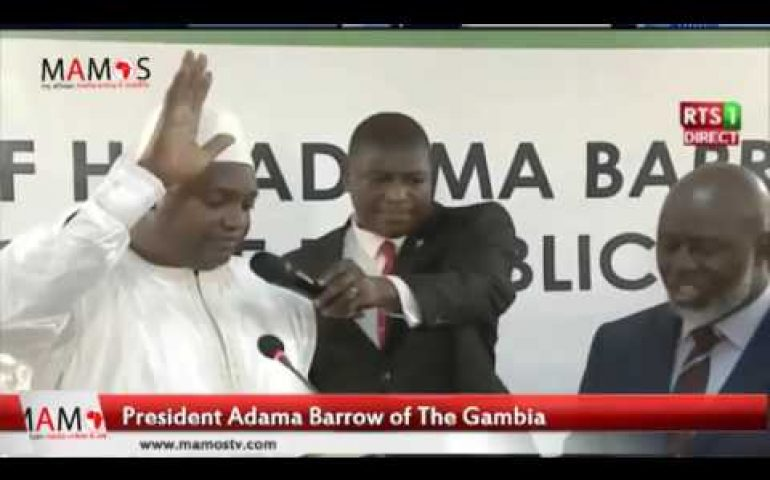 Moment Adama Barrow Takes Oath Of Office As Gambia's President