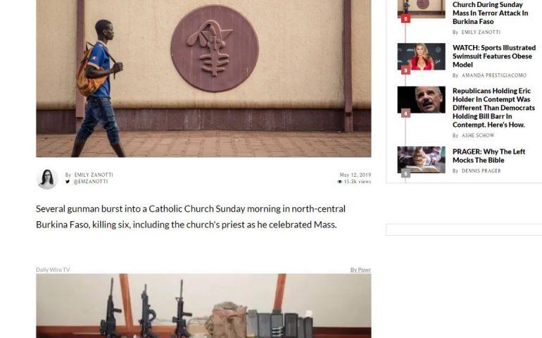 Gunmen kill six, burn church during Sunday mass in Burkina Faso