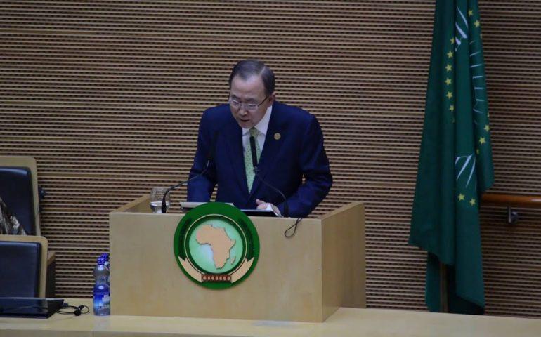 Ban Ki-moon (UN Secretary-General) at the 26th African Union Summit (Addis Ababa, 30 January 2016)