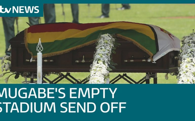Robert Mugabe's funeral takes place in near-empty stadium   ITV News